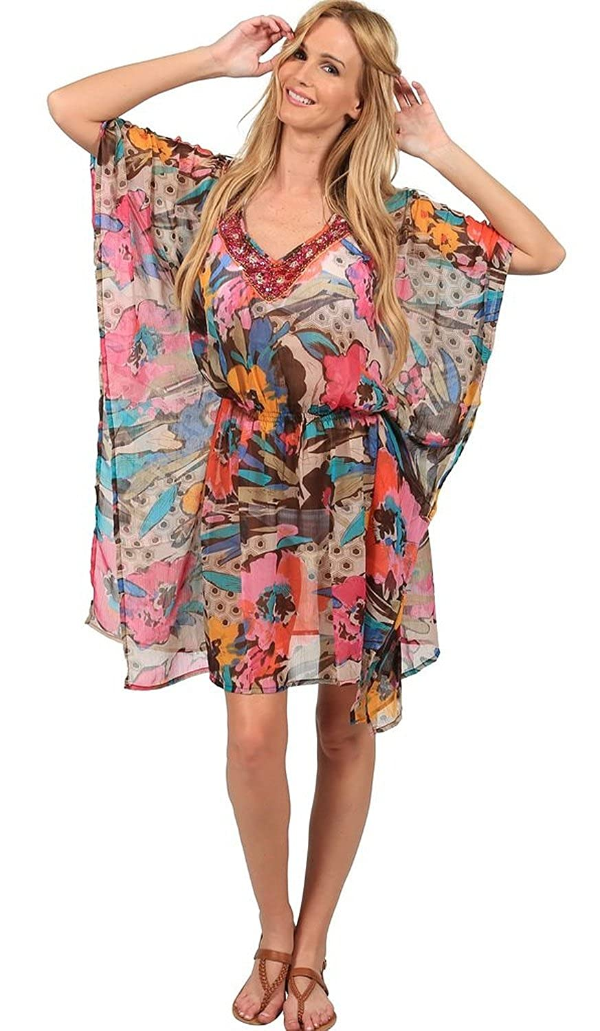Ingear Embellished Beaded Poncho Cover Up IST432R-AST-OS