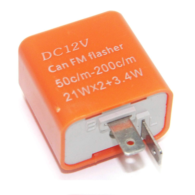 2 Pin Speed Adjustable LED Flasher Relay Motorbike Turn Signal Indicator 12V High Key