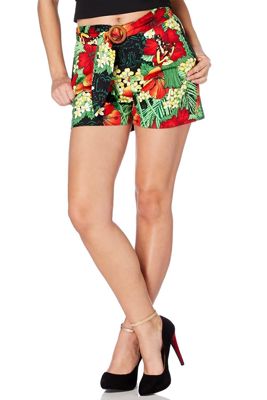 Vintage High Waisted Shorts, Sailor Shorts, Capris Voodoo Vixen Polly V Tropical Floral Print Shorts £11.50 AT vintagedancer.com