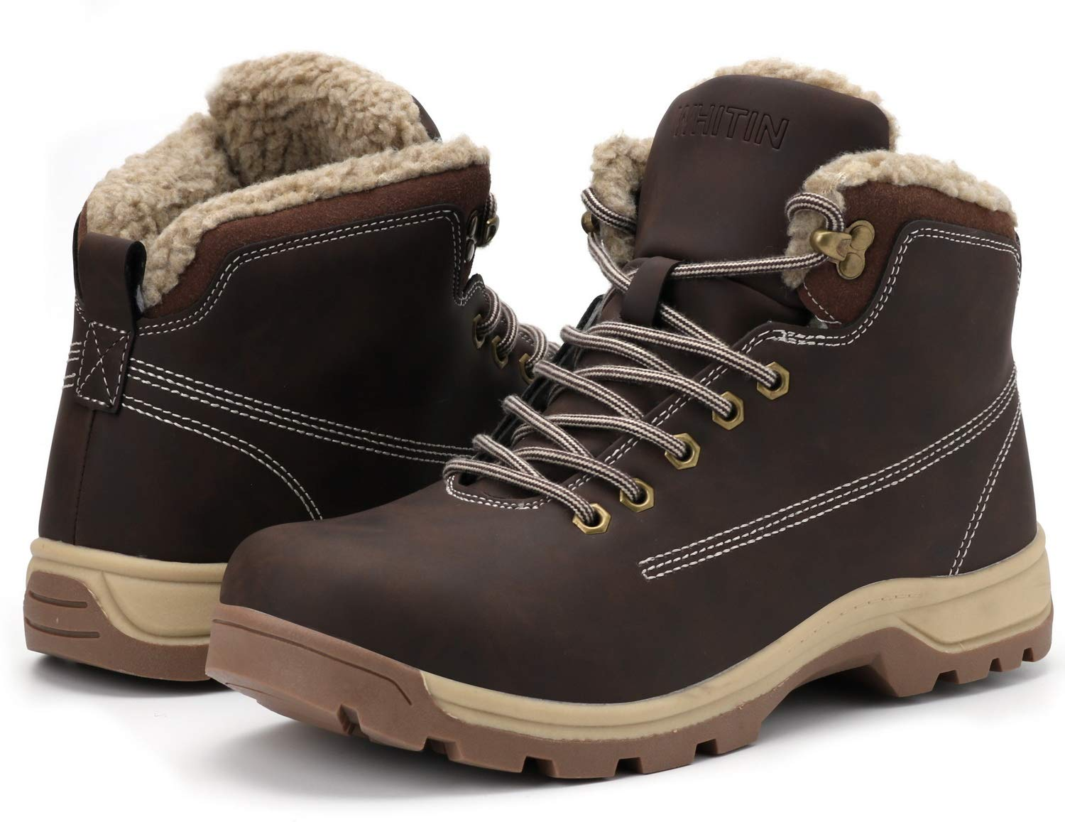 WHITIN Men's Winter Shoes Snow Boots Outdoor Trekking for Weather Warm Work Thermo Insulated Fully Fur Lined Nubuck Leather Hiking Waterproof Ankle Toe High Top Anti-Slip Ice Brown Size 8 by WHITIN