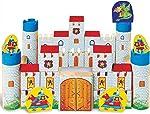 Brinquedo para Montar Castelo Encantado Madeira 64 Peças Brincadeira de Criança