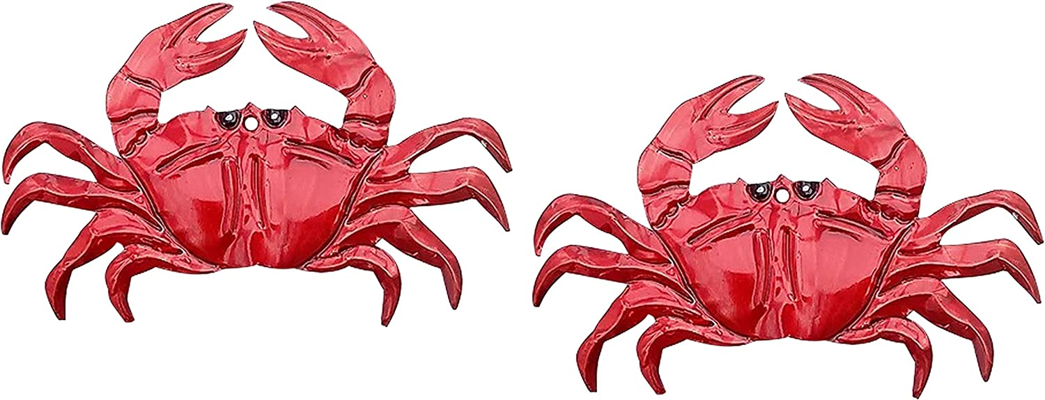 2 Metal Crab Decor Pieces | Hand Crafted Tin Art Set with Nautical Theme in Red | Seafood Motif for Wall Decorations (Has Hole to Hang)