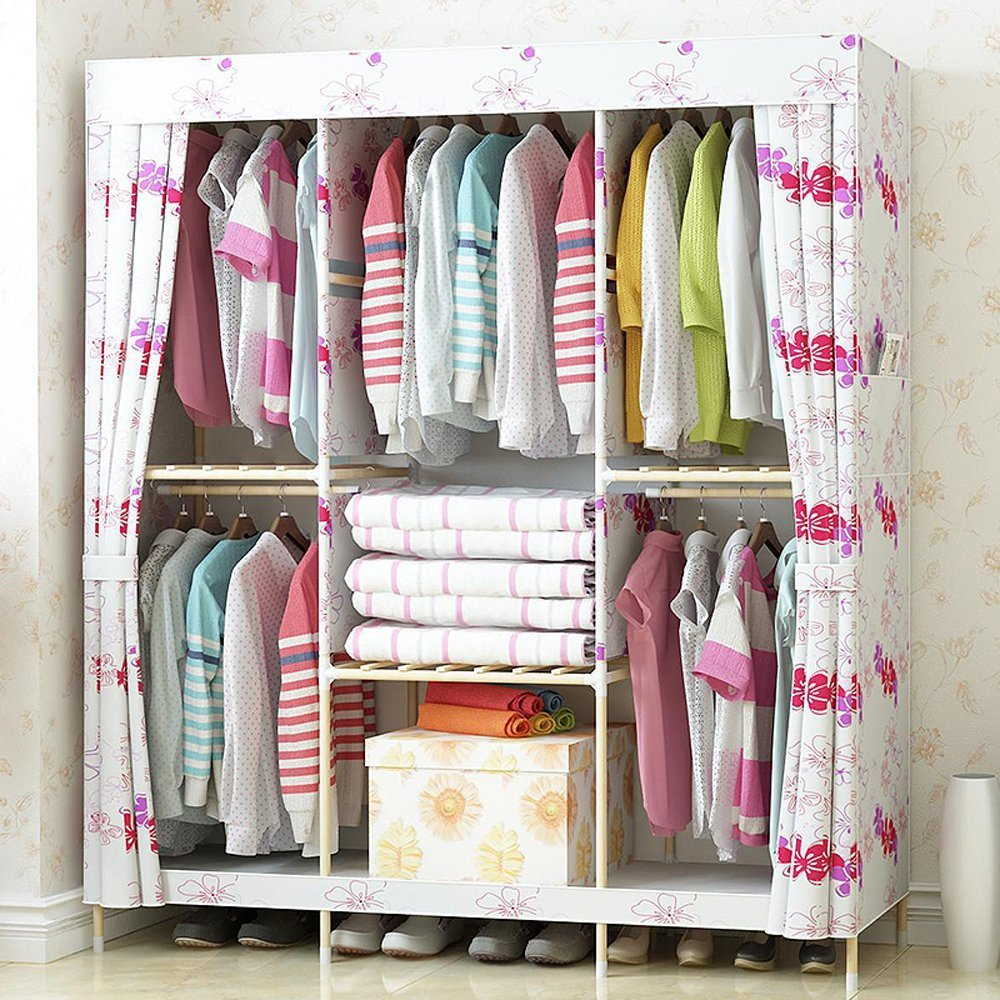 White with Flowers Generic New Super Large Family Waterproof Wardrobe Reinforced Wooden Closet Oxford Cloth Fully Closed Armoire+1 Free Storage Box