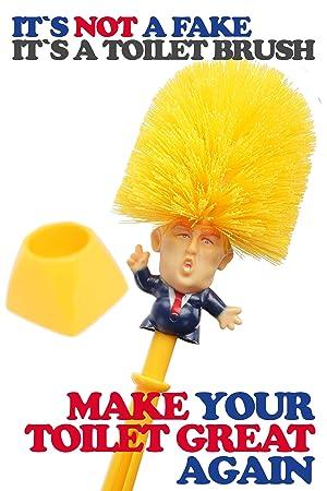 Donald Trump Klobürste gelb, Original Donald Brush, WC Bürste, Toilettenbürste, Scherzartikel, Make Your Toilet Great Again,