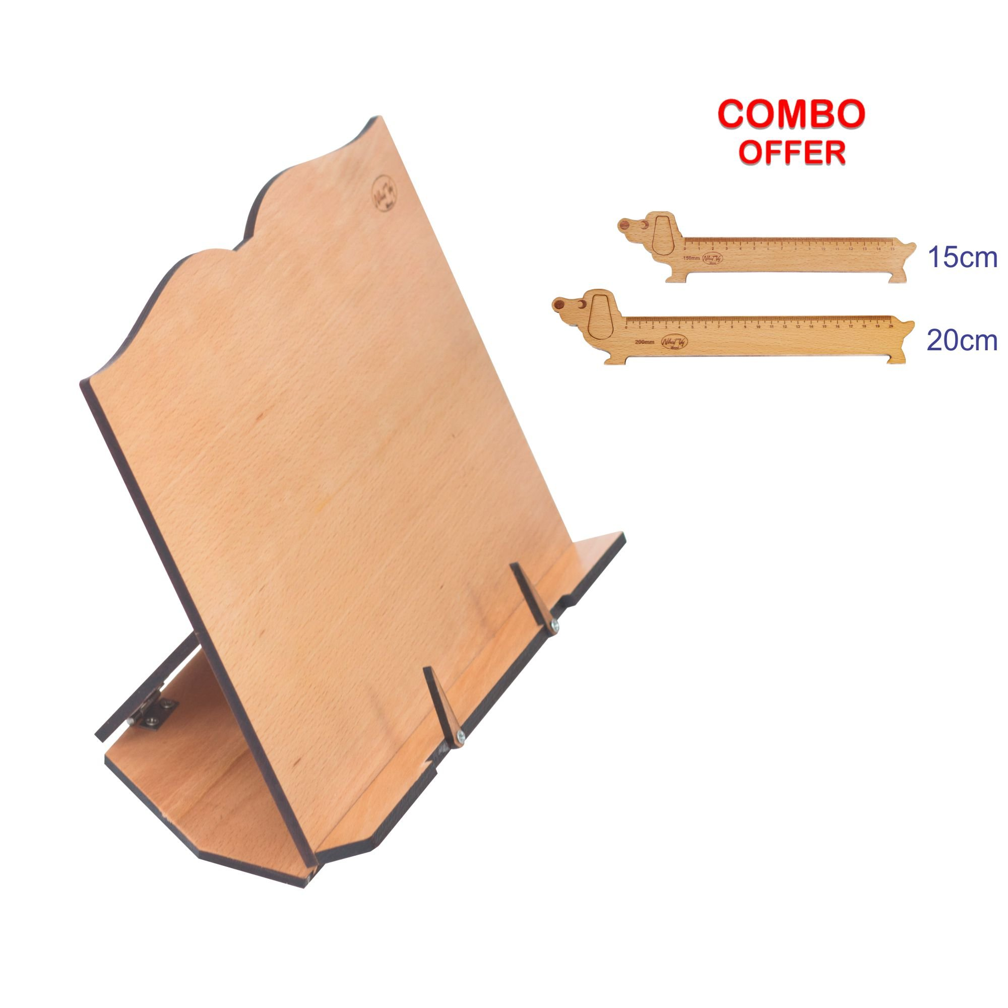Combo 3 in 1 Beech Wood Book Holder NHATVYWOOD with Two Lovely Dog-Shaped rulers, Adjustable Lightweight Books Holder 11,8 L x 8.8 inch