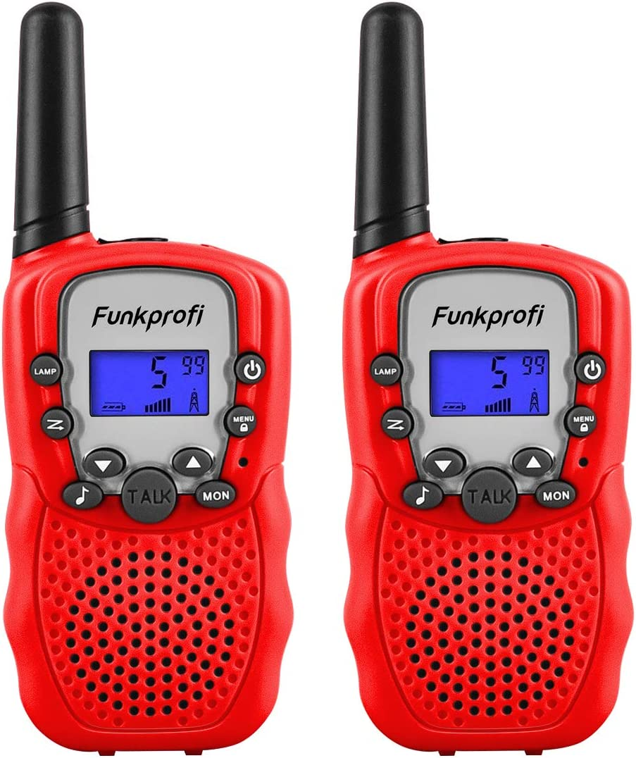 HD Sound Two Way Radios with Belt Clip and Flashlight Red Birthday Toy Gift for Boys /& Girls Age 3-12 Years Old Suitable for Outside Adventures Walkie Talkies for Kids