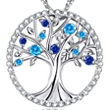 Olivia Dora Creative Jewellery March Birthstone Necklace Women 925 Sterling Silver Tree of Life Pendant Necklace Birthstone, Birthday Gift,Jewellery Gift Box, Allergen-Free Passed SGS