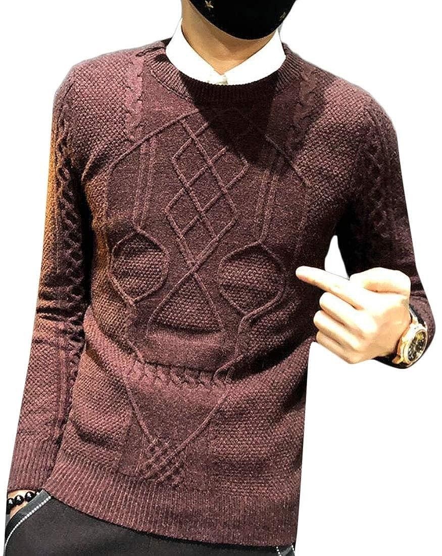 WSPLYSPJY Mens Warm Fashion Knitwear Crewneck Skull Slim Knitting Pullover Sweaters