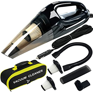 Car Vacuum, Costech Portable hand-held 120W Powerful Suction Handheld Car Vacuum Cleaner; Suction Wet and Dry Materials with 15 Feet Power Cord, 2 HEPA Filters, Carry Bag