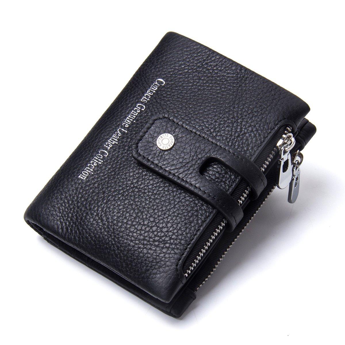 Contacts Hommes V/éritable Cuir Bifold Double Zipper Coin Pocket Porte-Monnaie Caf/é Noir
