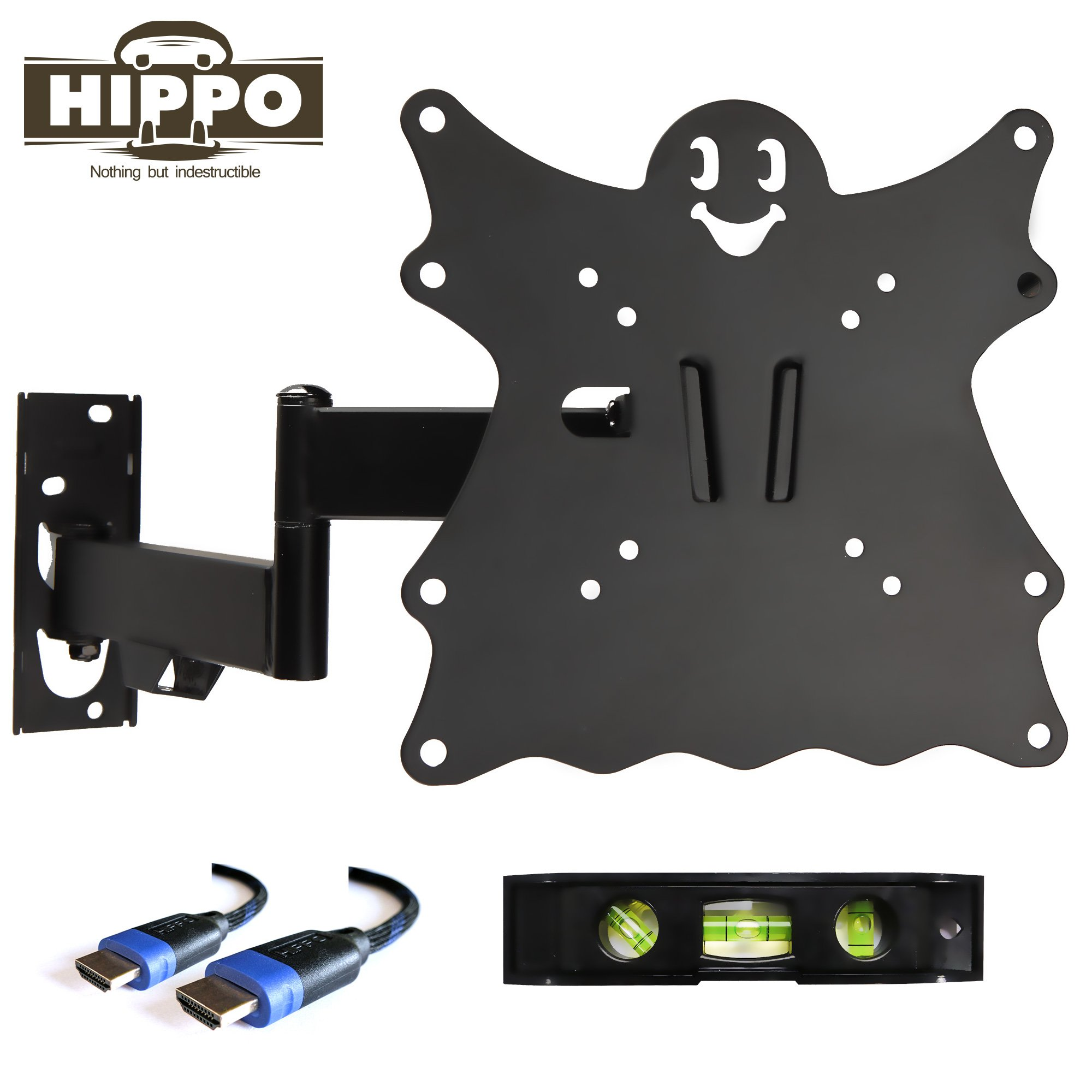 HIPPO TV Wall Mount Bracket for 15'' 17'' 19'' 20'' 22'' 23'' 24'' 26'' 27'' 28'' LED LCD OLED Plasma Screen up to 55 lbs VESA 200x200 5ft HDMI Cable