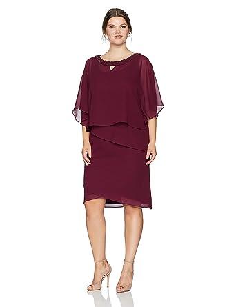 Le Bos Women\'s Plus Size Beaded Neck Poncho Dress W/Tiers