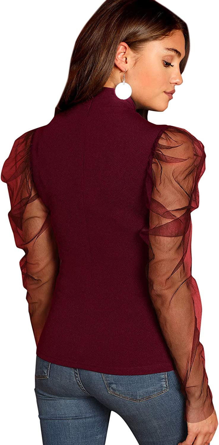 Romwe Womens Mesh Puff Sleeve High Neck Slim Fit Party Blouse Top