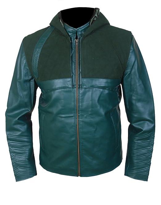 Leatherly Chaqueta de hombre Flecha Verde Cuero Chaqueta con capucha extraíble- 5XL: Amazon.es: Ropa y accesorios