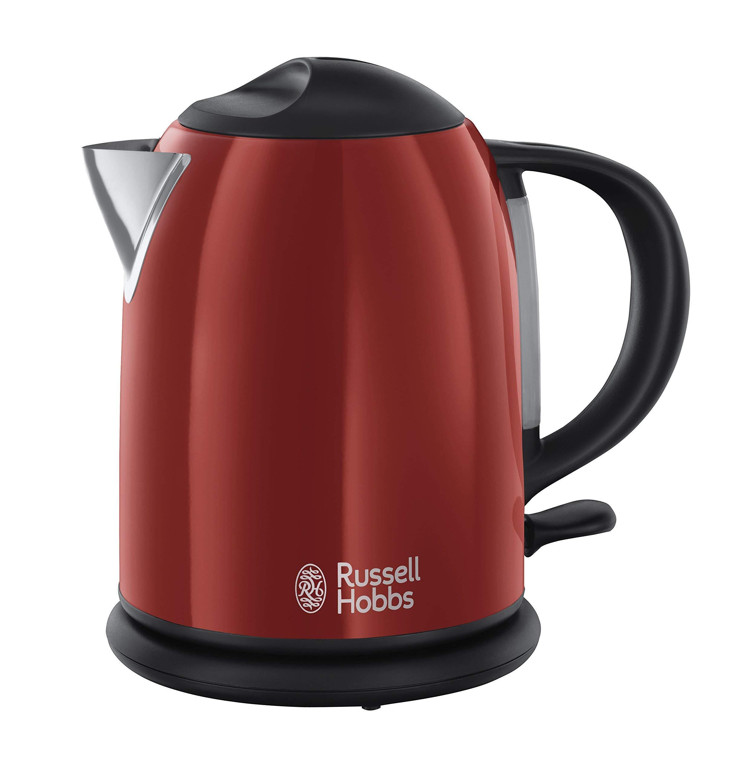 Russell Hobbs Colours Red - Hervidor de agua compacto, 1L, resistencia oculta, 2200 W, acero inoxidable, Rojo - ref. 20191-70 product image