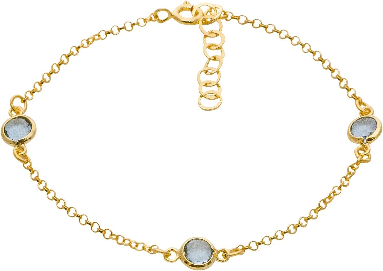 Córdoba Jewels | Pulsera en Plata de Ley 925 bañada en Oro con Piedra semipreciosa con diseño Trio Dolce Aguamarina Gold