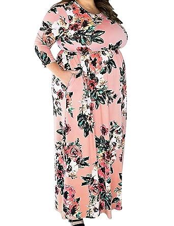 242015d0d97ee FLYCOOL Womens Plus Size 3 4 Sleeve Floral Print Elastic High Waist Vintage  Midi Pink