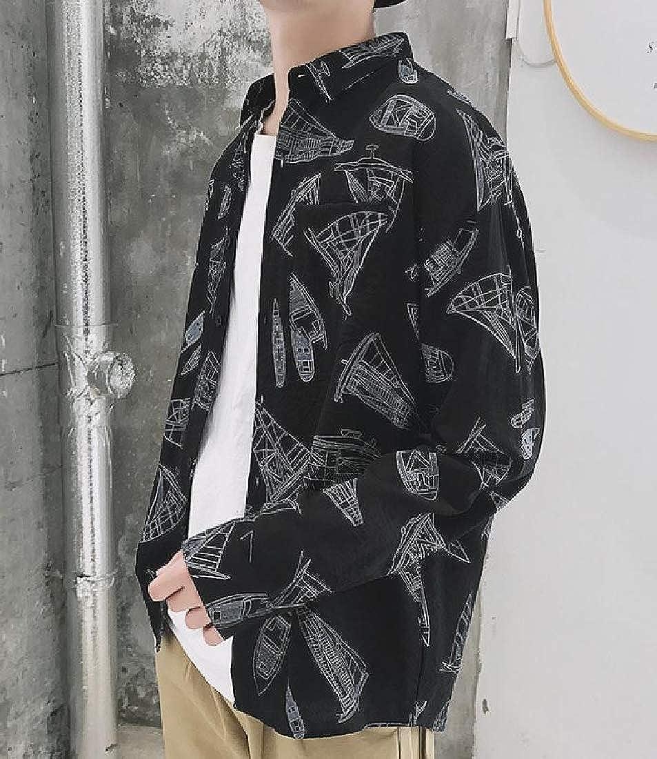 SportsX Mens Button-Down Thin Loose Top Long Sleeve Printed Retro Shirt
