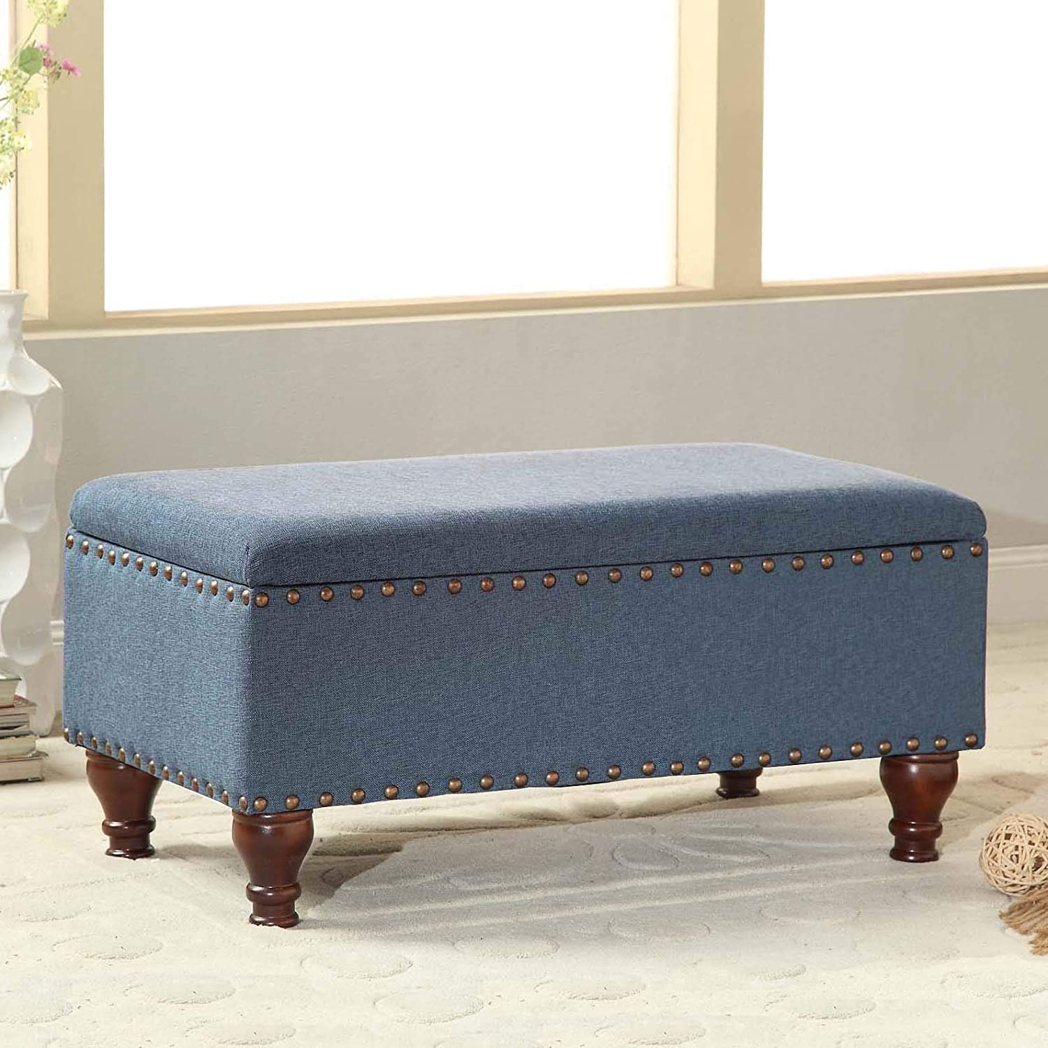 HomePop Linen Storage Bench with Nailhead Trim and Hinged Lid Blue