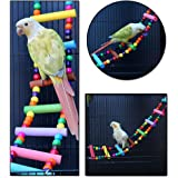 Littlegrass Bird Toys 31 inch Wood Bird Ladder, Step Parrot Ladder Swing Bridge,Bird Cage Accessories Decorative Flexible Cage Wooden Rainbow Toy for Cockatiel Conure Parakeet Birdcage Training