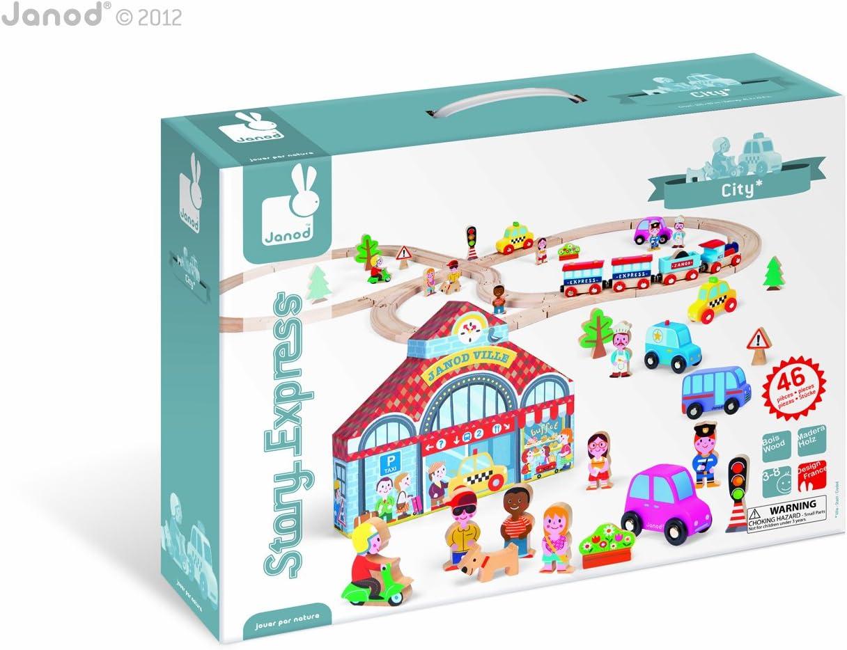 Janod - Story Express City, Set de Juego con Piezas de Ciudad (08508529): Amazon.es: Juguetes y juegos