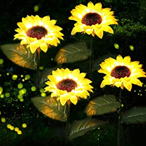 ANGMLN 4 Pack Solar Flowers Lights Garden Stake Outdoor Sunflower for Garden, Courtyard, Patio, Front Yard, Backyard, Balcony, Entryway Party Wedding Holiday Outdoor Waterproof Decoration