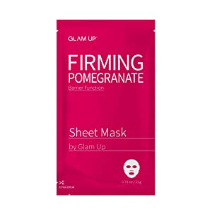 Sheet mask by glam up BTS Firming Pomegranate - Improve Elasticity, Skin Barrier for Dry Skin Nature made Freshly packed Daily Skin Therapy Original K-Beauty Recipe 1ea