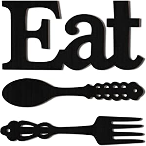 Set of EAT Sign, Fork and Spoon Wall Decor, Rustic Wood Eat Decoration, Cute Eat Letters for Kitchen and Home, Decorative Hanging Wooden Letters, Country Wall Art for Dining Room (Black)
