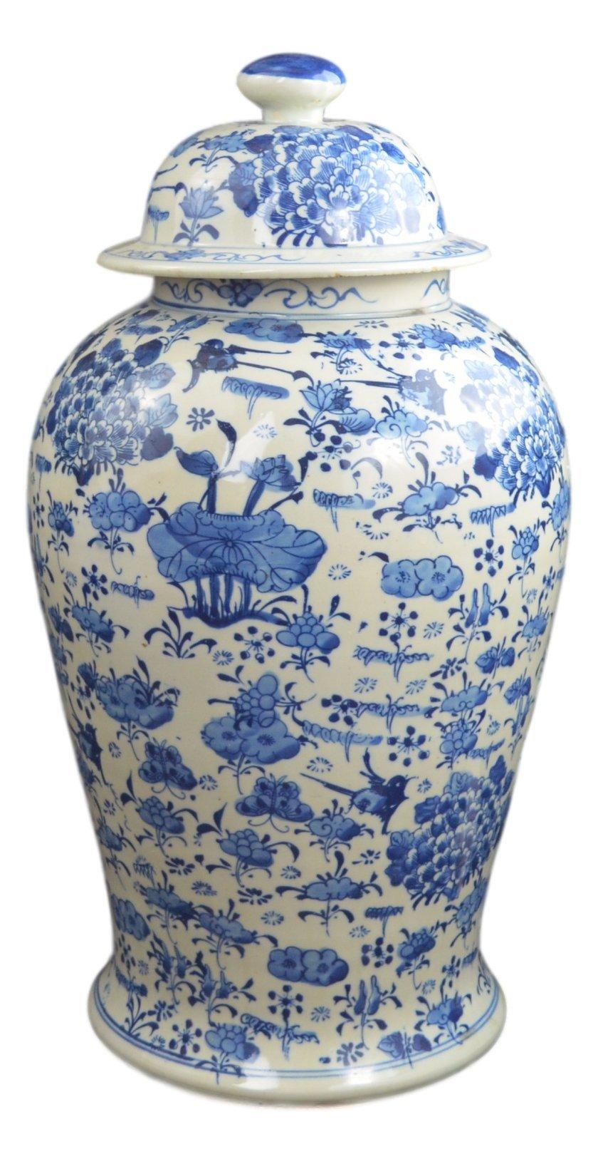 19'' Antique Finish Blue and White Porcelain Lotus Temple Ceramic Jar Vase, China Ming Style, Jingdezhen (L6)
