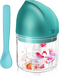 Electric Mini Garlic Chopper, FENDIC Wireless Portable Mini Chopper with Spoon, Powerful Food Processor for Grinder, Blender Garlic/Pepper/Nuts/Onion/Chili/Vegetable/Meat Slices - 250ML, Green