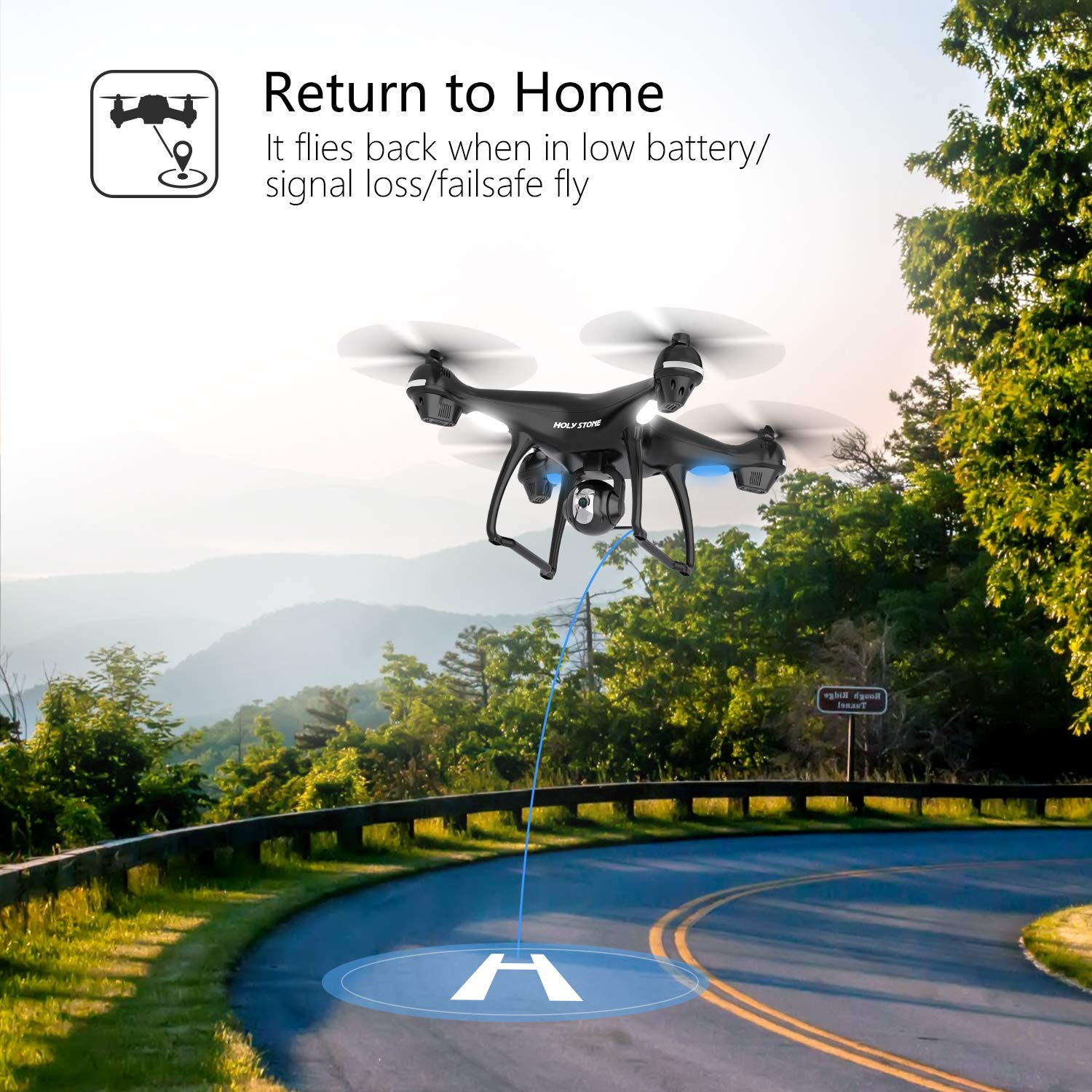 Holy Stone GPS RC Drone with FPV Camera Live Video and Auto Return Home for Adults Beginners Quadcopter with 15 Mins Flight Time, Adjustable Wide-Angle HD 720P WiFi Camera, Follow Me, Altitude Hold by Holy Stone (Image #3)