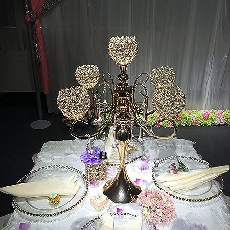 Everbon Elegante boda cristal centro de mesa 5 brazos Candelabro ...