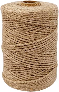 DIY Crafts Durable 3ply Jute String Packing String Diameter in 2mm for Arts Decoration and Gardening Gifts Wrapping Nature Jute Twine 328 Feet Nature Jute