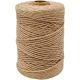 Leecogo 2mm Natural Jute Twine 328 Feet 3Ply Twisted Heavy Duty Jute Rope String Perfect for Arts Crafts Mason Jars Gifts Pre