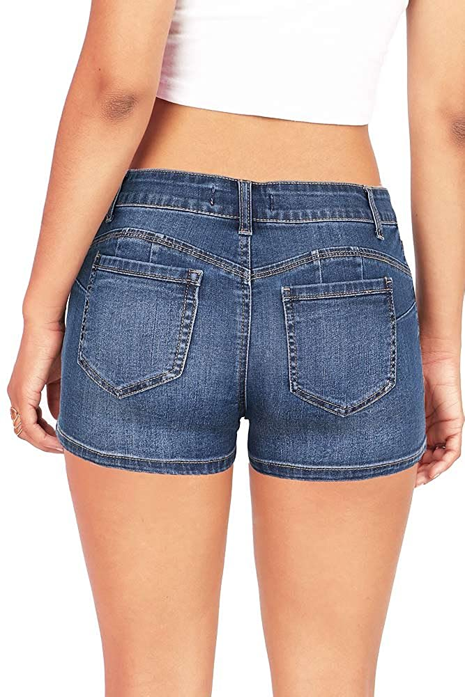 Wax Women's Juniors Classic Blue Denim Shorts at Amazon Women's ...