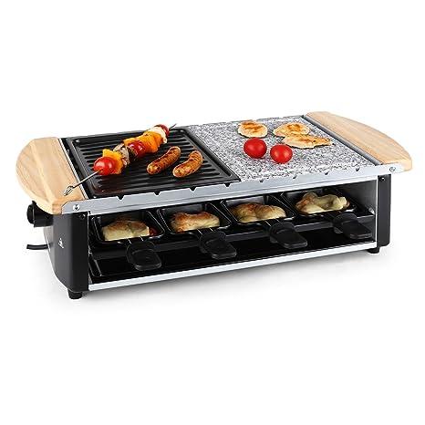 KLARSTEIN Chateubriand Raclette-Grill - Parrilla de mesa , Barbacoa-Party , 1200W , Regulador , Plancha piedra natural , Parrilla , Grill extraíble , ...