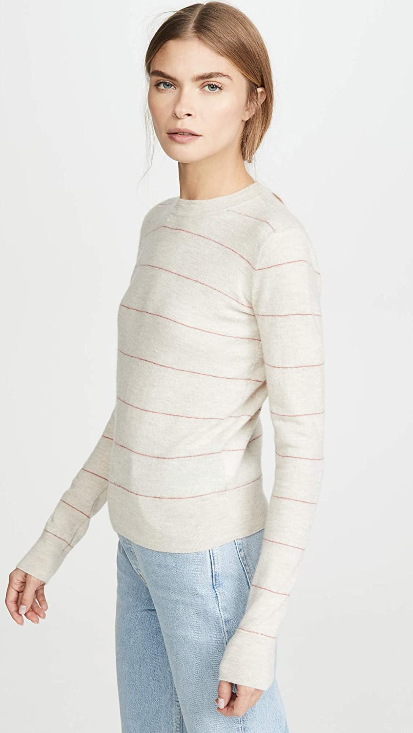 Vince Womens Striped Fitted Cashmere Crew Sweater