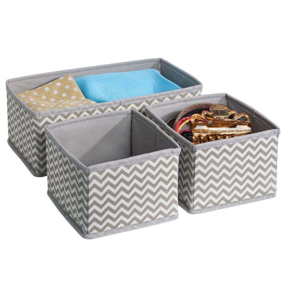 Closet storage bins and baskets - Amazon Com Interdesign Chevron Fabric Closet Dresser Drawer Storage Organizer For Underwear Socks Bras Tights Leggings Set Of 3 Taupe Natural Home
