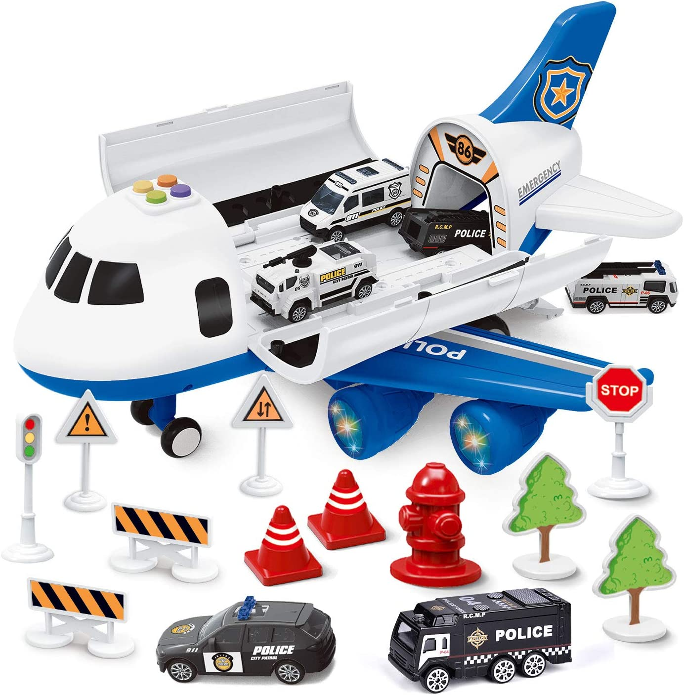 FUN LITTLE TOYS Electronic Airplane Toys with Lights /& Music Construction Toys for Boys Including 6 Pieces Die cast Construction Vehicles Set