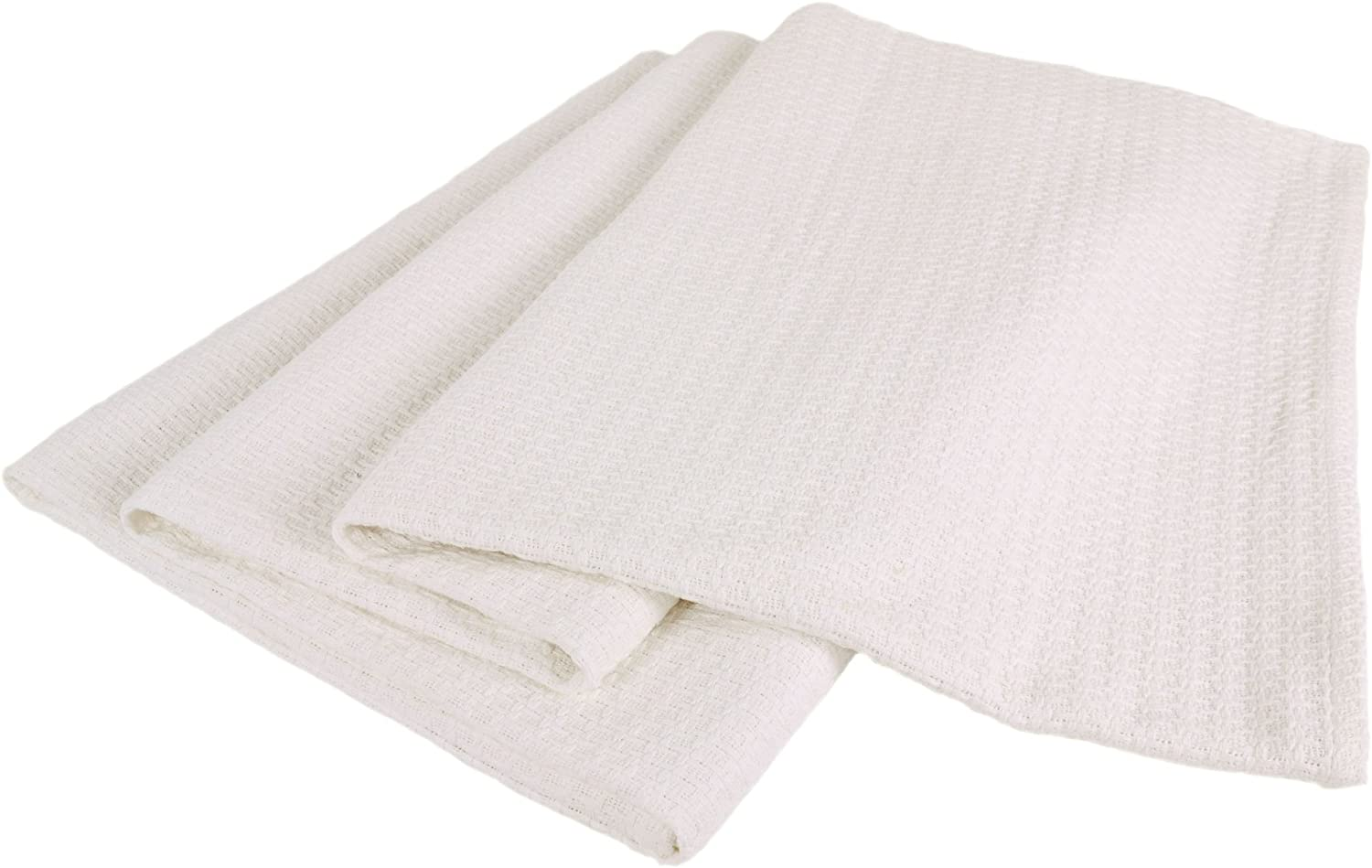 Elite Home Grand Hotel All-Natural 100-Percent Cotton Basket Woven Blanket Full/Queen Size, White