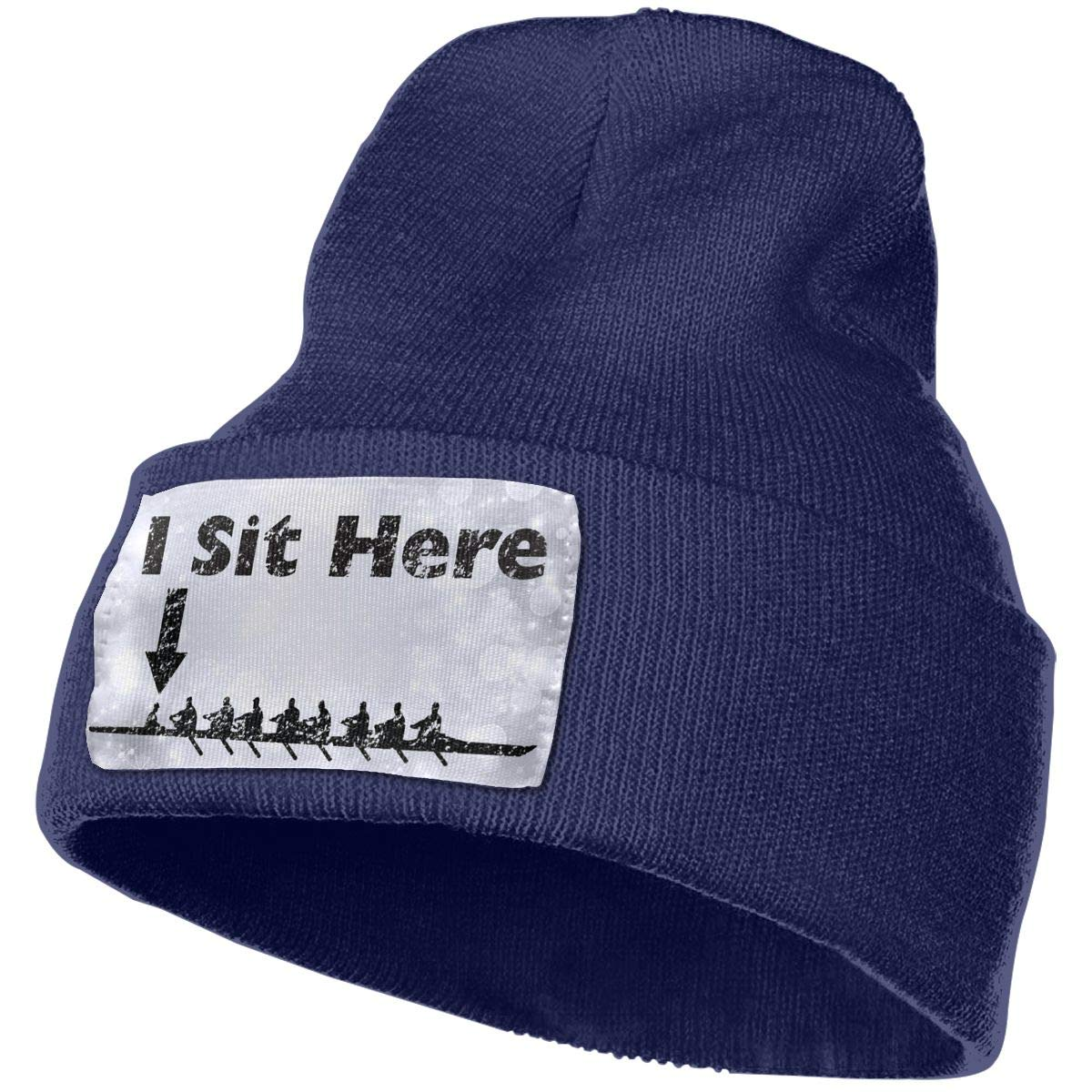 I Sit Here Coxswain Rowing Crew Pride Men/&Women Warm Winter Knit Plain Beanie Hat Skull Cap Acrylic Knit Cuff Hat