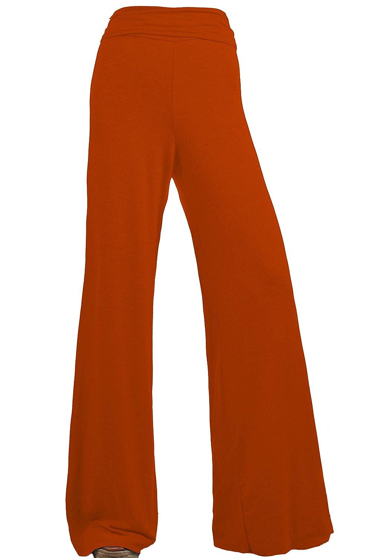 viiviikay Women 's Maternity Wear fold-overウエストワイド脚伸縮Palazzoパンツ B01NCZCEIE XL|さび色 さび色 XL