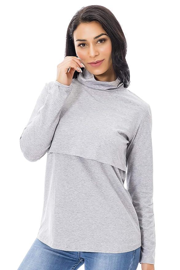 1b04dedf17c61 Smallshow Long Sleeve Nursing Tops Turtleneck Breastfeeding Shirts for Women:  Amazon.co.uk: Clothing