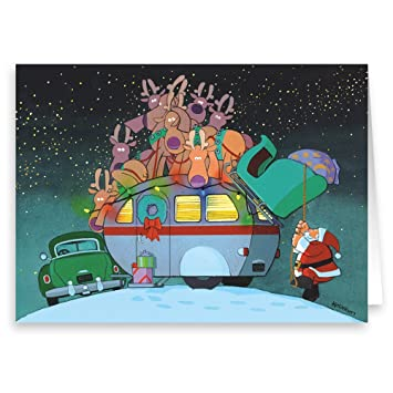 camper and santa christmas card 18 cards envelopes