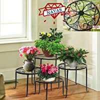 NAYAB 4 in 1 Metal Potted Plant Stand Rack Floor Flower Iron Pot Planter for Corner, Garden, Balcony, Indoor and Outdoor (Floral 4in1)