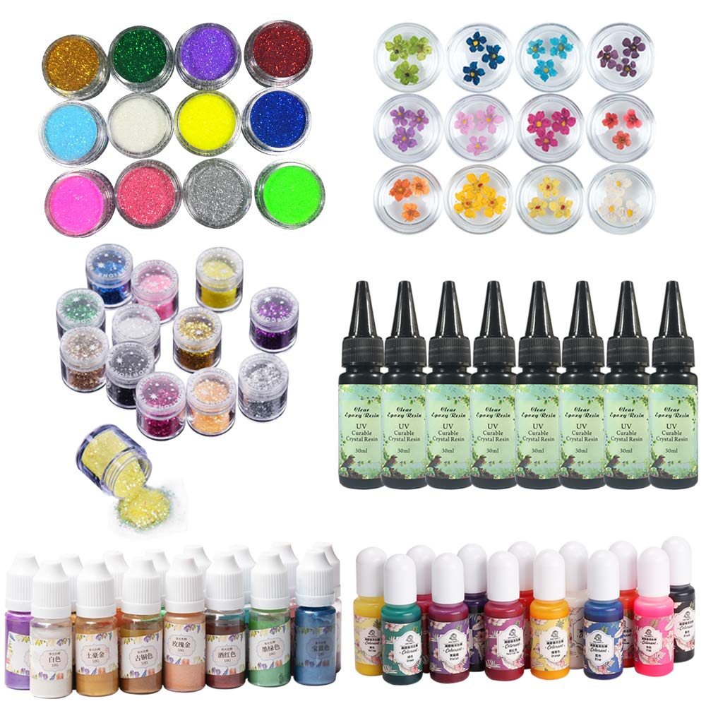 UV Resin Crystal Clear 8x30ml + 28 Pigment Tints Dyes (13 Solid Colors 15 Pearlescent Metallic Glitter) + 36 Decorations Holographic Glitter Dried Flowers, Epoxy Resin Jewelry Making Kit DIY Crafts