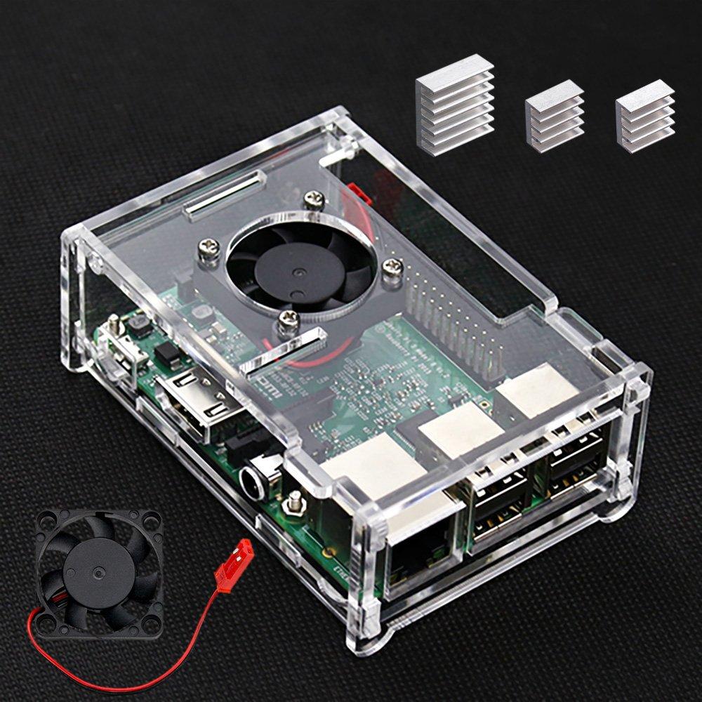 VSTON Raspberry Pi 3 B + Caja con Ventilador y 3 Piezas Disipadores térmicos para Raspberry pi 3 Modelo B + / Pi 3 Modelo B/Pi 3 / Pi 2 / Pi 2B ...