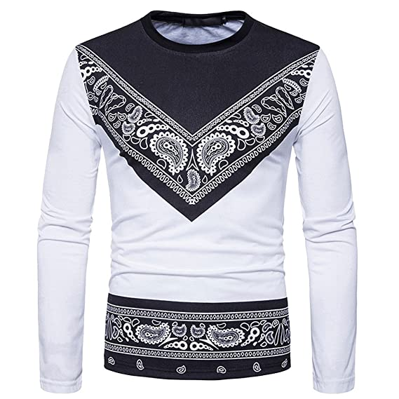 Naturazy Camisa Blanca Estampadas para Camiseta African 3D Print,Sudadera con Capucha Dashiki OtoñAl Redondo