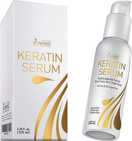Vitamins Serum de Keratina para Cabello - Tratamiento con Biotina, Colageno y Aceite Castor Oil y Jojoba - Activador de Rizos Protector Termico para ...