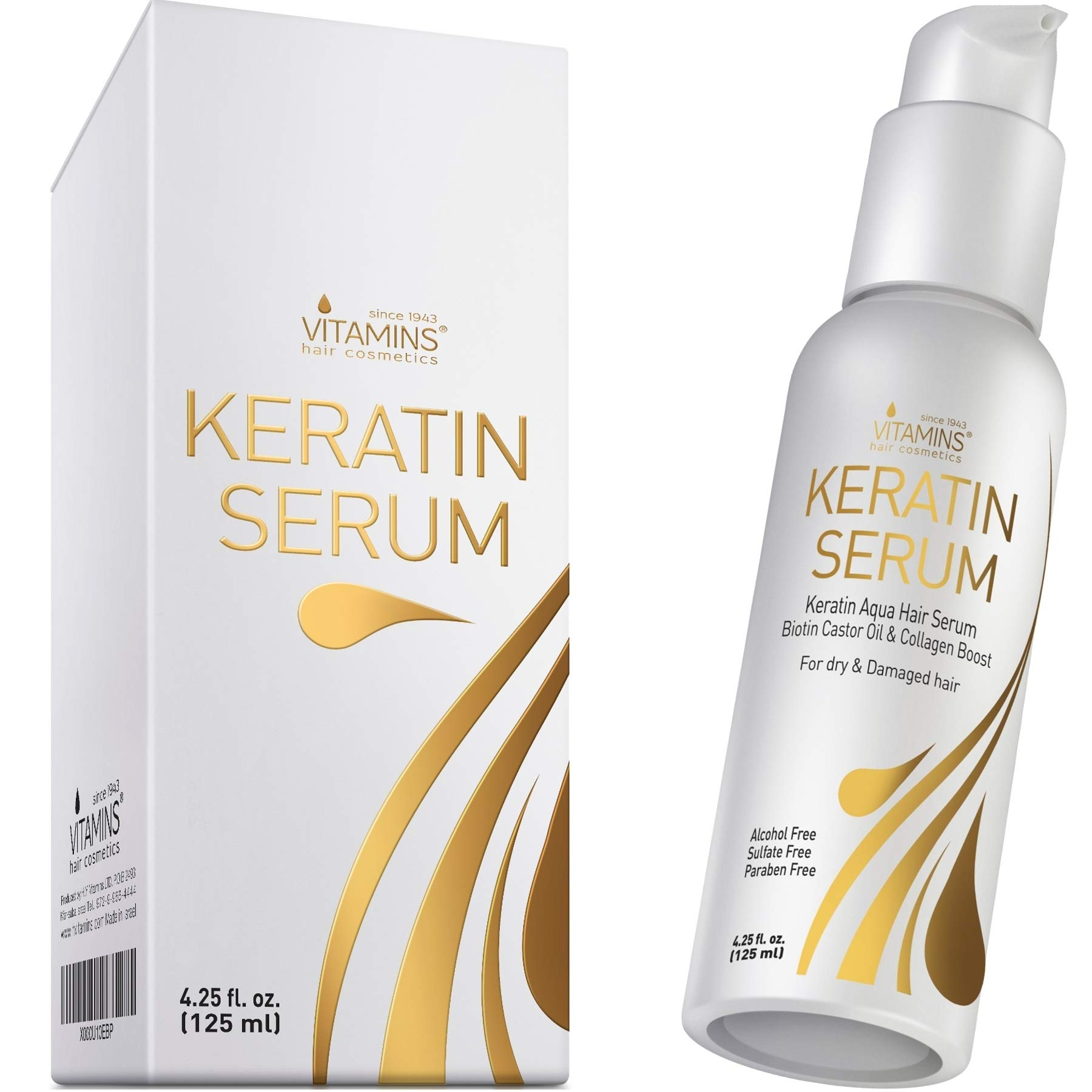 Vitamins Keratin Protein Hair Serum - Biotin and Collagen Anti Frizz Treatment with Castor Oil Softens and Repairs Frizzy Dry Damaged Hair - Heat Protectant with Shine and Gloss 4.25 Oz